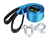 CLSMYLFB Cuerda de remolque de 5 m, color azul, para coche, de carreras, de nailon, para remolque, resistente y accesorios de metal, ganchos de metal