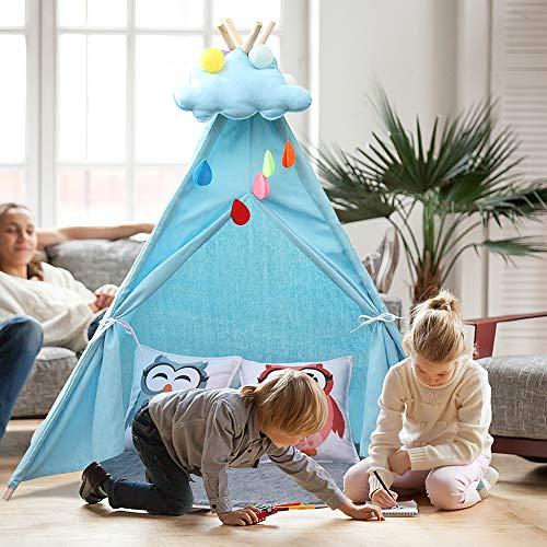YOLEO Kinderzelt Tipi Spielzelt für Kinder Kinderzimmer Zelt Kinder Geschenke Zelt Indianerzelt - Spielhaus Zelt für Drinnen und Draußen - aus Baumwolle und Leinen, Blau (130cm hoch)