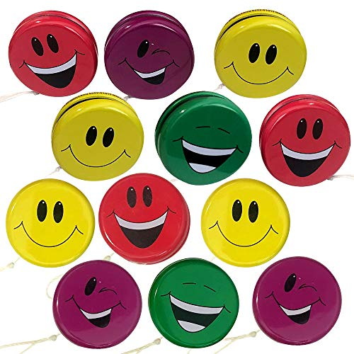 ArtCreativity Smile Face Yoyos for Kids, Pack of 12, Emoji Yo-Yo Toys in Assorted Designs, Emoji Birthday Party Favors, Goodie Bag Fillers, Holiday Stocking Stuffers, Classroom Prizes