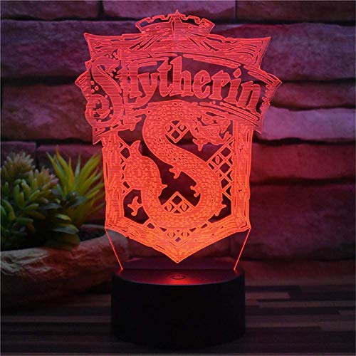 Nueva ilusión 3D Luz nocturna Harry Potter Slytherin USB Plug Control remoto y toque 7 Cambio de color Acrílico Lámpara de mesa LED Decoración del hogar Modelo creativo Juguete Regalos para niños