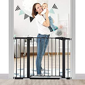 KINGSO 43.3″ Auto Close Safety Baby Gate Extra Wide Tall Child Gate Easy Walk Thru Durable Dog Gate for Stairs Doorways House. Include 4 Pressure Bolts, 2.75″ & 8.25″ Extension, Black