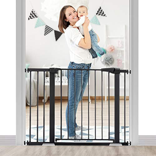 KINGSO 43.3' Baby Gate Extra Wide Tall Dog Gates for Doorways Stairs Child Gate Easy Walk Thru Safety Gate for House Fits 37.8'-43.3'. Include 4 Pressure Bolts, 2.75' & 8.25' Extension, Black