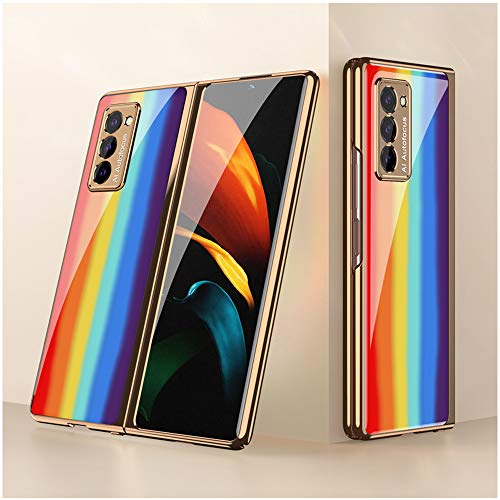 DOOTOO for Samsung Galaxy Z Fold 2 Case Premium Plastic Plating Crystal Colorful Rainbow Finish Shockproof Protection Cover Case for Samsung Galaxy Z Fold 2 5G