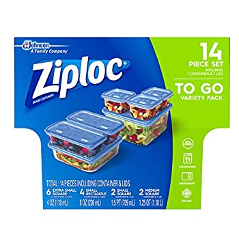 Ziploc Food Storage Meal Prep Containers with One Press Seal For Travel and Organization Dishwasher Safe 14 Piece Set  Variety Pack