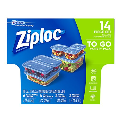 Ziploc Food Storage Meal Prep Containers with One Press Seal, For Travel and Organization, Dishwasher Safe, 14 Piece Set (Variety Pack)