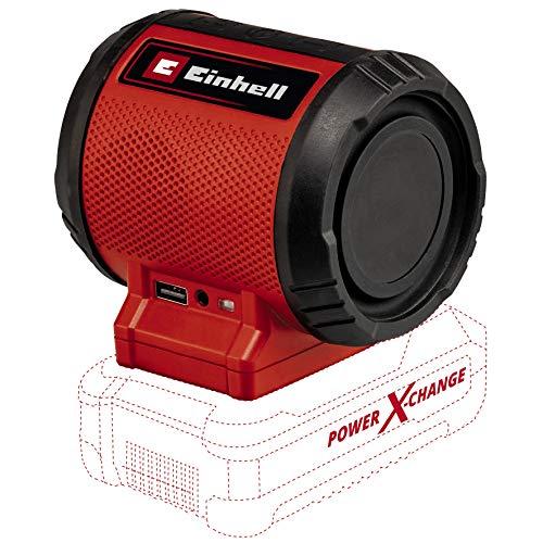 Einhell Altavoz con Batería TC-SR 18 Li BT-Solo Power X-Change (18 V, volumen máx. 85 dB, 120 Hz-20 Khz, Bluetooth Versión 5.0, 10 m alcance, conexión AUX/USB, sin Batería ni Cargador)