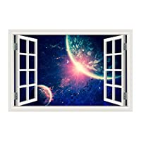 YIBOKANG 3D風景ウォールステッカークリエイティブな効果星星行假假贴画家リビングルームベッドルーム環境ポリ塩化ビニールの装飾的な壁のステッカー (Color : 4)