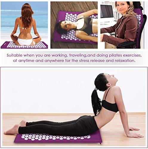 INTEY Kit d'Acupression, Tapis Coussin de Massage pour Yoga, Tapis d'acupression, Traitement des Douleurs Tensions, Violet/Vert