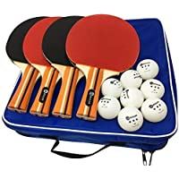 4-Pack JP WinLook Table Tennis Racket Set with 8 Balls