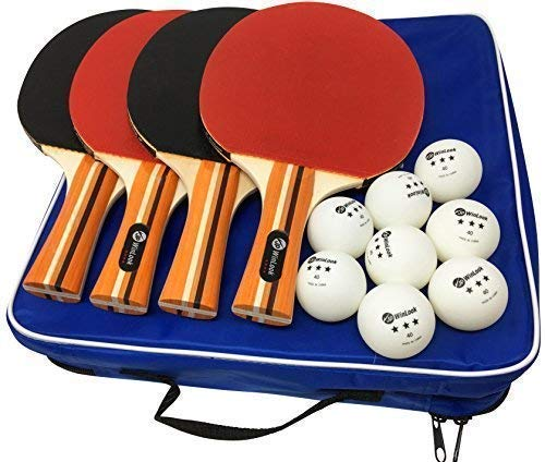 JP WinLook Ping Pong Paddle - 4 Pack; Pro Premium Table Tennis Racket Set; 8 Professional Game Balls; Practice Accessories Racquet Bat Bundle Kit; Portable Cover Case; Indoor Outdoor