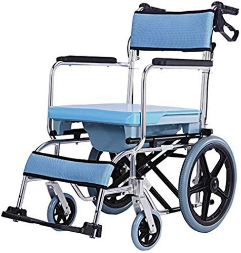 GUOZ Commode Stuhl mit Rollen - wasserdichte Aluminium Tragbarer KopfendeCommode Bad Toilette Stuhl, für Behinderte, ältere Menschen, Verletzter und Behinderte,Blau