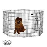 MidWest 554-36DR Foldable Metal Exercise Pen / Pet Playpen. Black w/ Door, 24 W x 36 H Inch