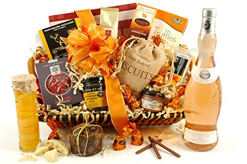 Rosé Wine Gift Hamper - The Amber Luxury Food & Wine Gift Basket - Ideal for Birthday Wedding Anniversary or Corporate Thank You