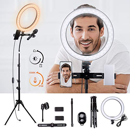 K&F Concept Aro de Luz LED Regulable con Trípode, 2700K a 5500K Temperatura de Color, CRI ≥ 95, Anillo de Luz para Maquillaje Selfie Youtube Vídeo con Manguera Soporte para Móvil y Micrófono Karaoke