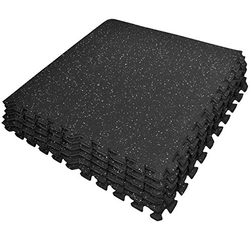 Sivan Health and Fitness Puzzle Exercise Mat High Density Foam Interlocking Gym Tiles - 24 Sq Ft (Black/Grey)