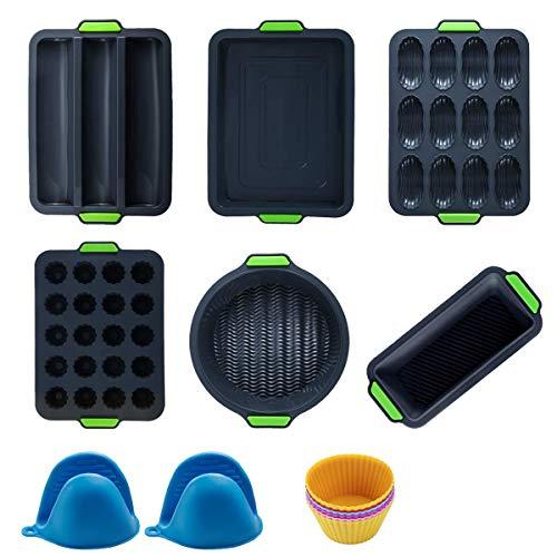 14-teiliges Silikon-Backform-Set, antihaftbeschichtet, Backform-Set, mit Muffin-/Ofenblech, Kuchen-/Kastenform, Springform-Set, BPA-frei, für Cupcakes, Brownies, Pudding, Toast, Hackbraten, Quiche