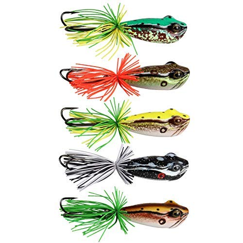 ANGLER DREAM AnglerDream 5pcs/lot Frog Killer Artificial Frog Fishing Lure VMC 3/0 Double Hook Top Water Floating Pike Bait Fishing Lure 58mm 11.5g