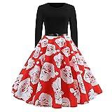OverDose Damen Frohe Weihnachten Stil Frauen Vintage Print Langarm Weihnachten Abend Party Cosplay Elegante Slim Swing Kleid Geschenk(X-A-Rot,M)
