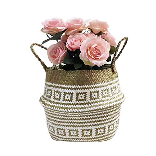 Rabbiter Woven Seagrass Belly Basket for Storage Plant Pot Basket and Laundry, Picnic and Grocery Basket, Seagrass Wicker Basket Flower Pot Folding Basket Dirty Basket Storage Decoration