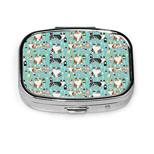 Pastillero Caja decorativa personalizada Soporte para tableta para bolsillo Pastor australiano Perros y vino Tinto Merle y