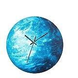 LIOOBO Reloj de Pared Iluminado Tierra silenciosa Noche Reloj de Pared Creativo decoración del hogar (Puntero Negro)
