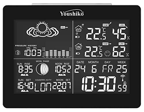 Youshiko YC9361 - Estación meteorológica digital con reloj controlado por radio, temperatura interior exterior, humedad, salida del sol, puesta de luna, tiempo de puesta de sol, presión barométrica