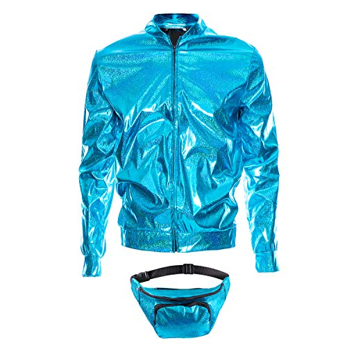 70er Jahre 80er Jahre 90er Jahre Folie Metallic glänzend RAVE Bomberjacke Hologramm Festival Kostüm blau