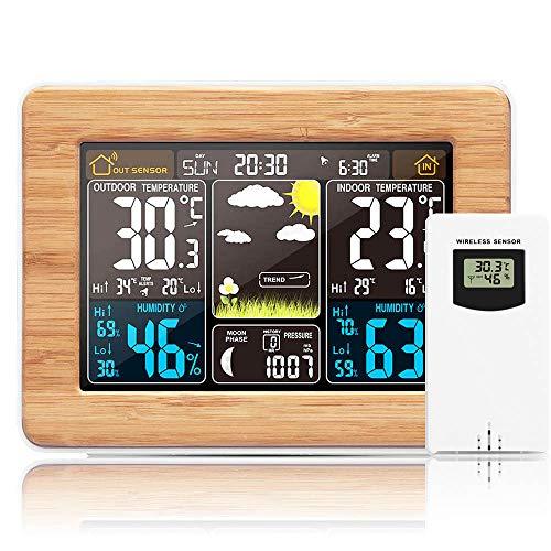 TopHGC Wetterstation, Funk Vorhersageuhr mit Innen oder Außensensor mit Kalendertemperatur Luftfeuchtigkeit (Braun)