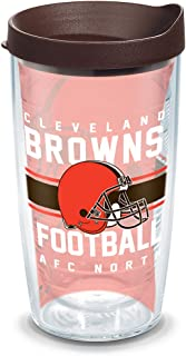 Tervis 1319589 NFL Cleveland Gridiron Insulated Travel Tumbler with Wrap and Brown Lid 16oz - Tritan Clear