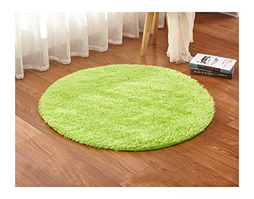 "Ultra Soft Round Shaped Bedroom Carpet,Decorative Living Room Shaggy Area Rug,Fluffy Kids Playing and Yoga Mat with Anti-Slip Bottom (Lime Green,23"")"