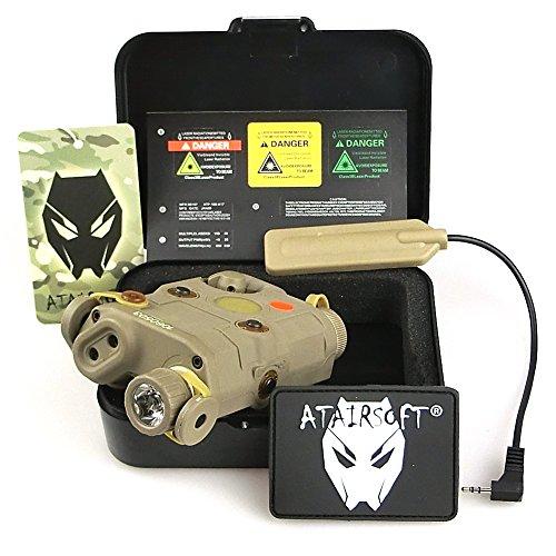 ATAIRSOFT (Airsoft Version AN-PEQ-15 Upgrade Version PEQ-15 Style Battery Box Red Sight + LED Flashlight DE Tan for AEG GBB CQB