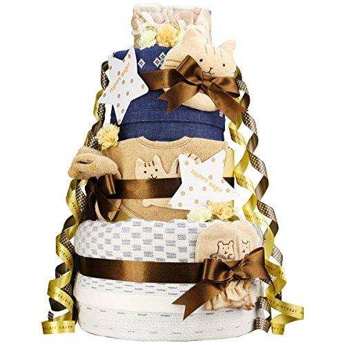 今治タオル imabari towel 出産祝い 日本製 オーガニック 豪華3段DX おむつケーキ おすみつき ファーストベビーシューズ (メリーズテープタイプSサイズ)