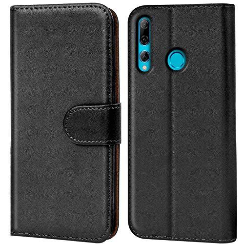 Verco kompatibel mit Huawei P Smart+ 2019 Hülle, Handyhülle für P Smart Plus (2019) Tasche PU Leder Flip Hülle Brieftasche - Schwarz