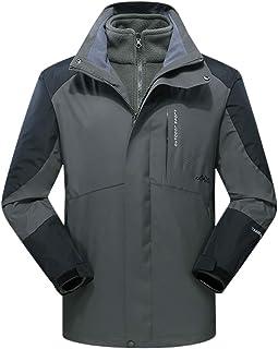 d351c6634e85 AbelWay Men s Mountain Waterproof Windproof Fleece 3 in 1 Ski Hooded Rain  Jacket