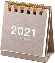 BOBEINI 2021 Eenvoudige effen kleur Mini Desktop Paper Calendar Dual Daily Scheduler Table