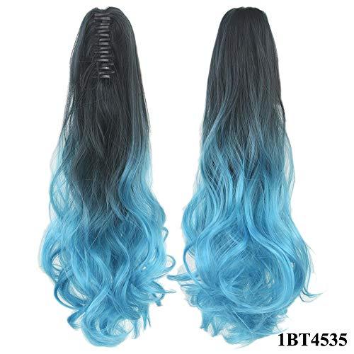 Perruque Clip Droit Sur Les Extensions De Postiche Blonde Clips Pony Tail Synthetic Hair Claw Ombre Ponytail Hair Pieces Pour Femmes-1Bt4535_24 Pouces