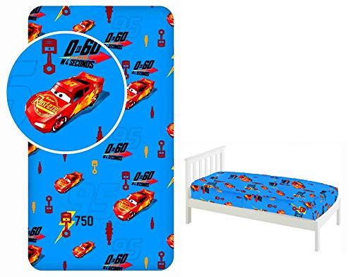 Disney Pixar Cars Sábana bajera ajustable para cama individual, 90 x 200 cm, 100% algodón, con licencia oficial
