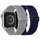 Elastisch Armband Kompatibel mit Apple Watch Armband 42mm 44mm, Dehnbar Verstellbar Solo Loop Nylon...