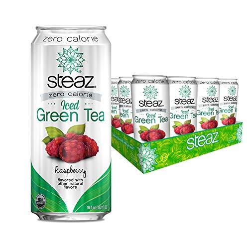 Steaz Organic Zero Calorie Iced Raspberry Green Tea, 16 fl oz. (Pack...