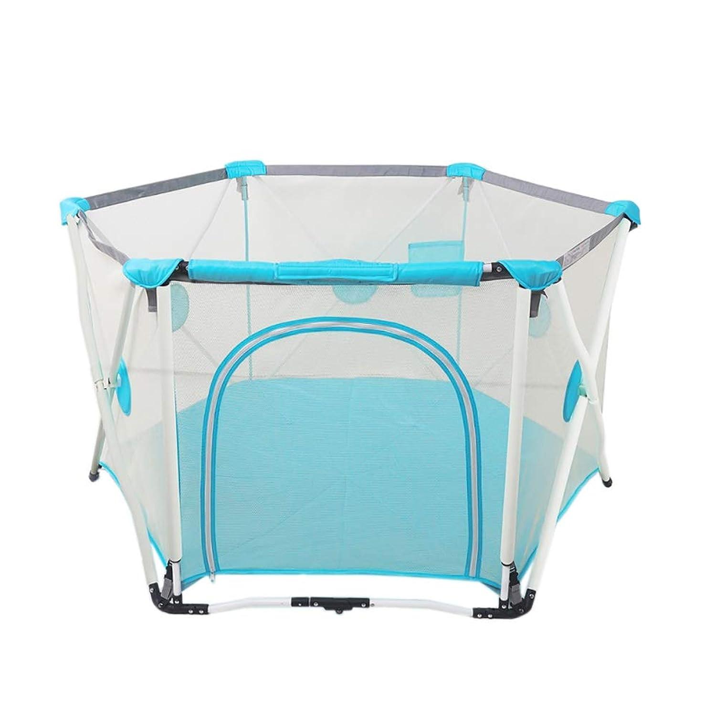 携帯用ベビーサークル、折りたたみ保育園の柵、屋内屋外安全ゲームベビーサークル、高さ82.5 cm (色 : 青)
