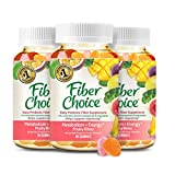 Fiber Choice Metabolism & Energy Prebiotic Fiber Gummies, Excellent Source of Vitamins B6 and B12, Helps Support Regularity*, Prebiotic Fiber Helps Support Immune Function*, 90 Count (3 Pack)