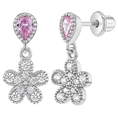 925 Sterling Silver Girls Pretty Flower Dangles, Clear & Pink Cubic Zirconia Screw Back Locking Earrings, Charming and Timeless for Young Girls & Preteens-Floral Lover Kids Daily Wear