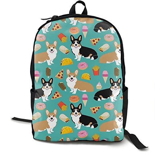 Corgi Pizza Green Kids Backpack Lightweight School Bookbag Fashion Travel Daypack