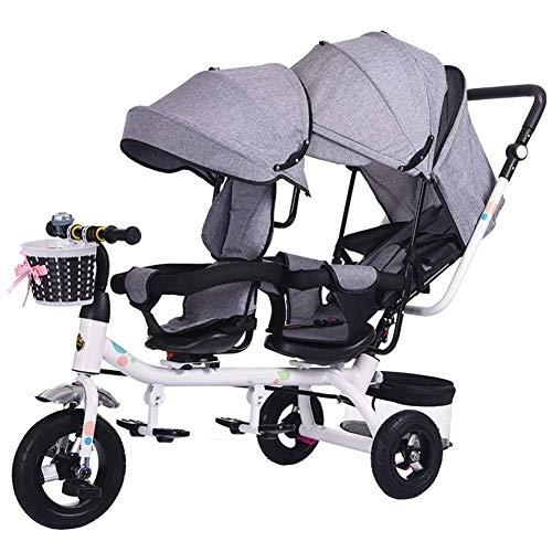 Kinderwagen Doppel-Dreirad, Kinder-Doppelsitz Fahrrad Kinderwagen 6 Monate ~ 6 Jahre Baby Car