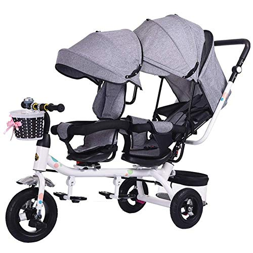 Review Baby Stroller Twin Tricycle, Children's Double Seat Bicycle Stroller 6 Months ~ 6 Years Baby ...