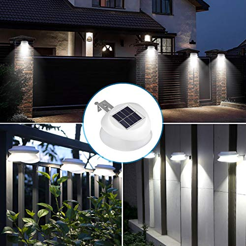 Solar Gutter Lights Outdoor, 9 LED Solar Fence Post Lights Wall Mount Decorative Deck Lighting, Waterproof Solar Landscape Lights for Garden Patio Driveway Stairs Attic Walkway, (6 Pack, Pure White)