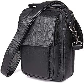 Men's Chest Bag Leather Shoulder Bag Simple Casual Shoulder Bag (Color : Black, Size : M)