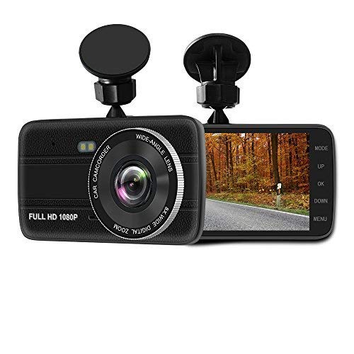 "4.0"" Screen Full HD 1296P60 170 Wide Angle Dashboard Camera, Car DVR Vehicle Dash Cam with G-Sensor, WDR, Loop Recording,32G TF card, black"