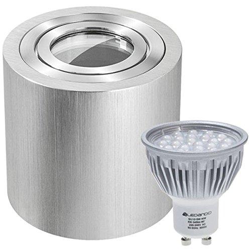 IP44 LED Aufbaustrahler Set Bicolor (chrom/gebürstet) mit LED GU10 Markenstrahler von LEDANDO - 5W - warmweiss - 60° Abstrahlwinkel - Feuchtraum/Badezimmer - 50W Ersatz - LED Aufbauleuchte Zylinder