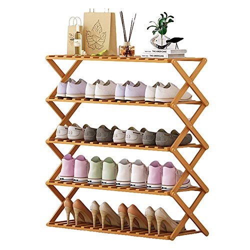 Bamboo Garment Coat Clothes Hanging Heavy Duty Rack Foldable Space Saving Stand with 2 Top Rod and Lower Shoe Clothing Storage Organizer Shelves